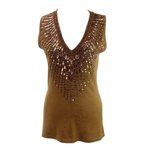 Cache Brown Embellished Neck Top Size Medium
